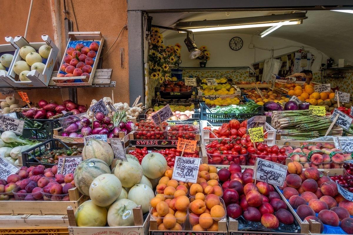 Fruit for sale in the Quadrilatero market in Bologna