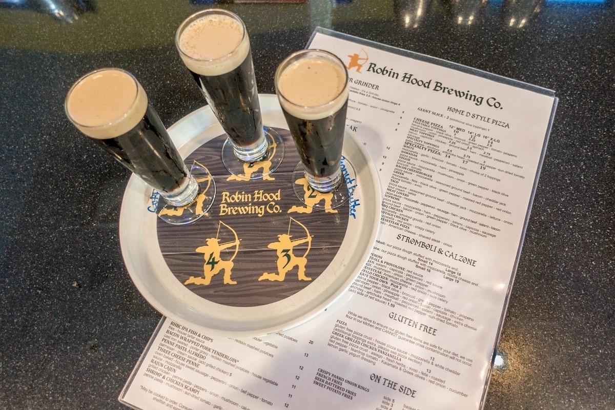 Beer tasting flight at Robin Hood Brewing Company