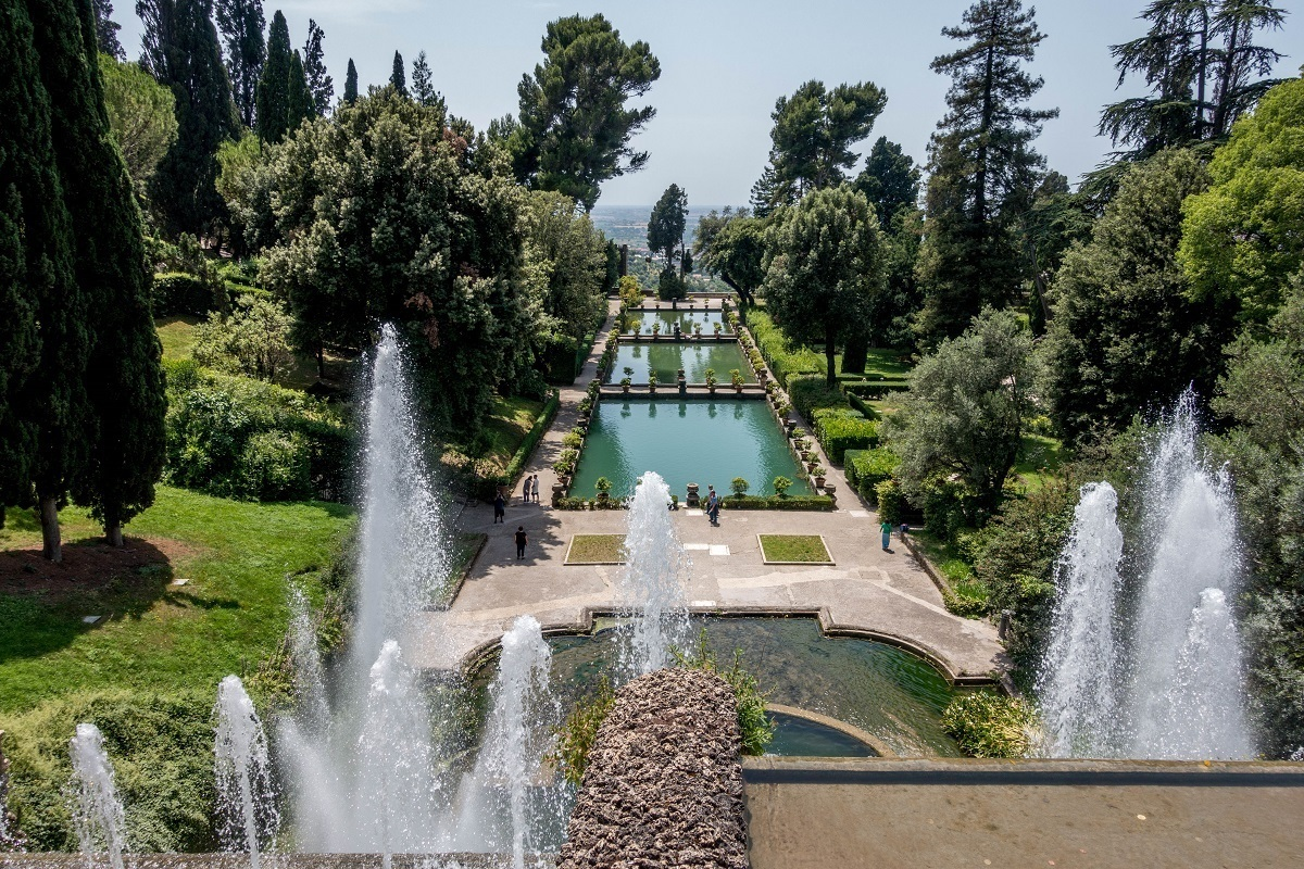 Gardens and series of water features and pools sloping downhill