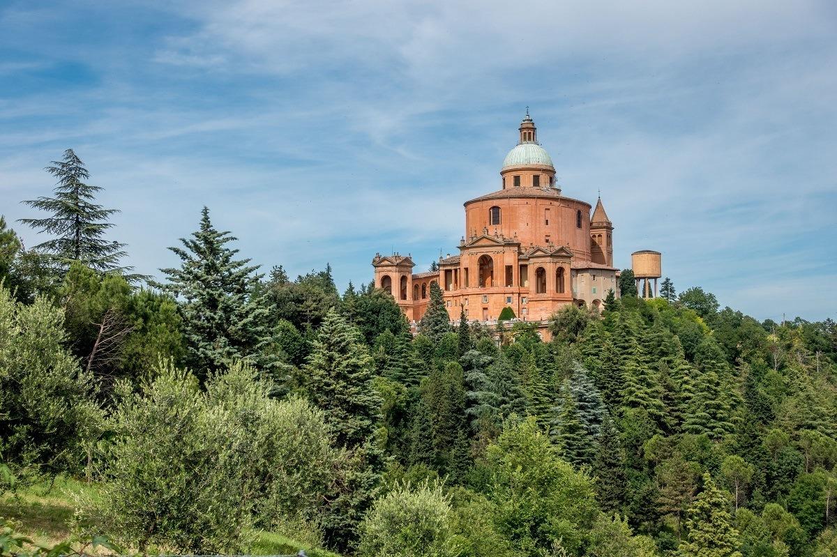 Orange church on a hill