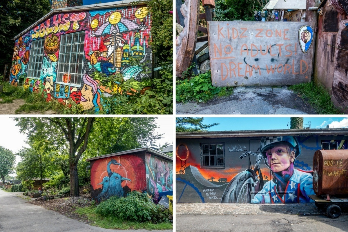 Colorful art on the sides of buildings