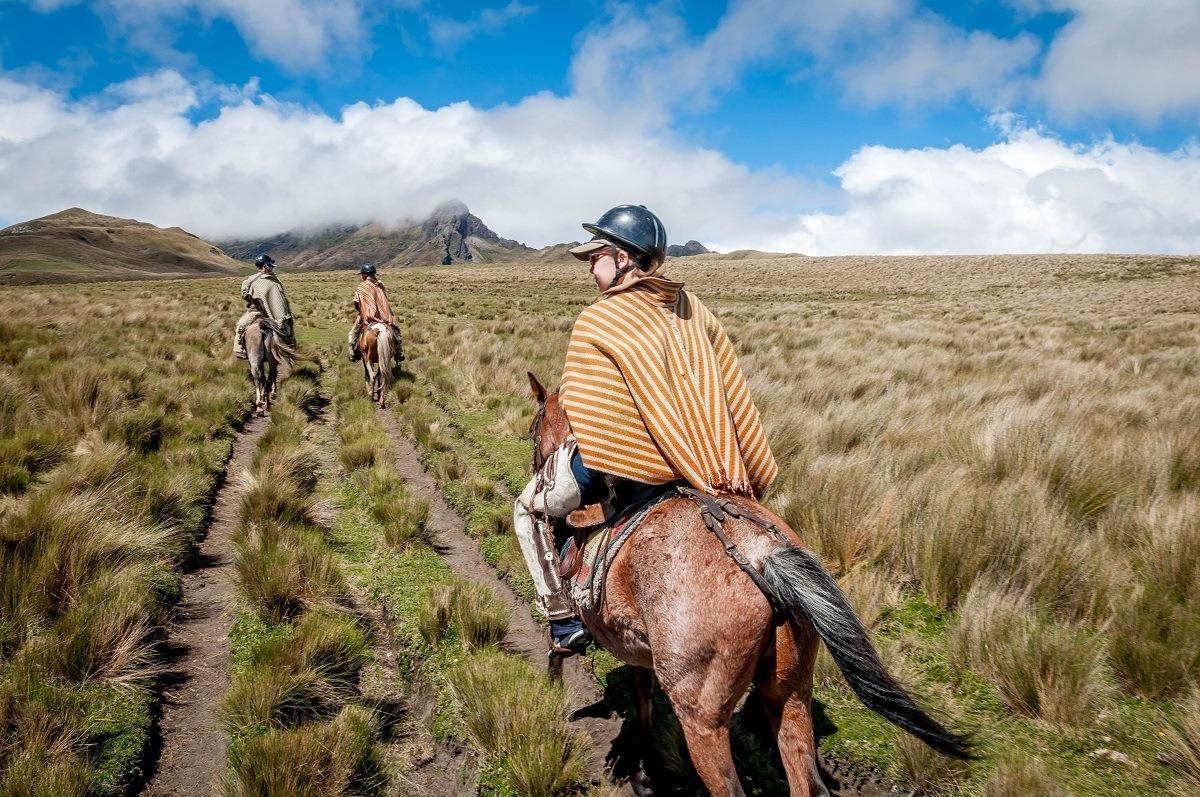 Three people riding horses