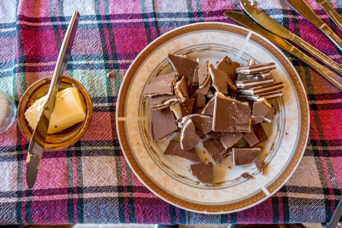 Plate full of chocolate