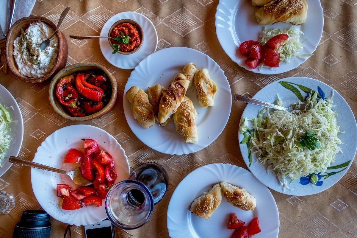 Plates full of Macedonian food