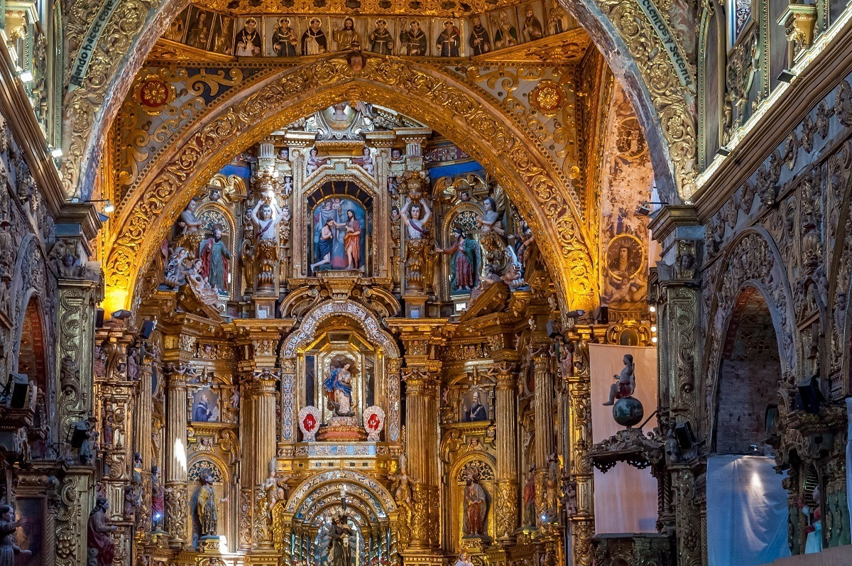 The interior of the Chiruch of San Francisco in Quito, Ecuador