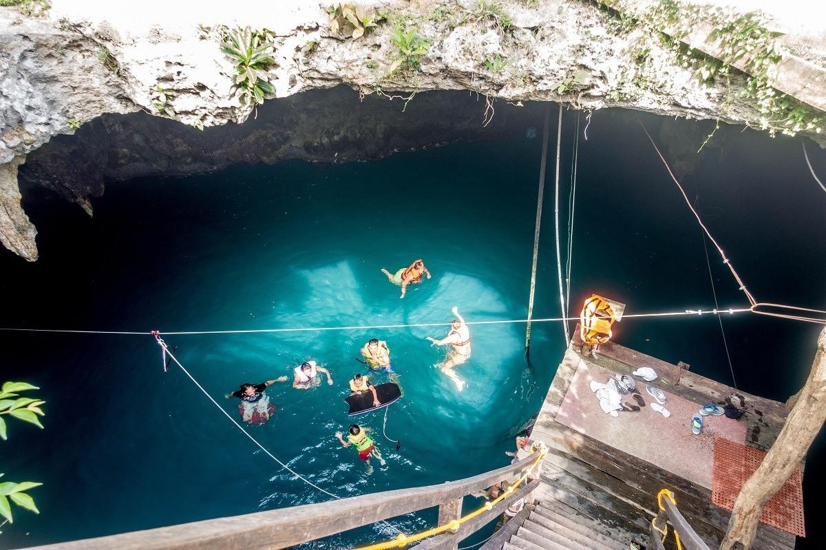 Looking down into the Cenote la Noria