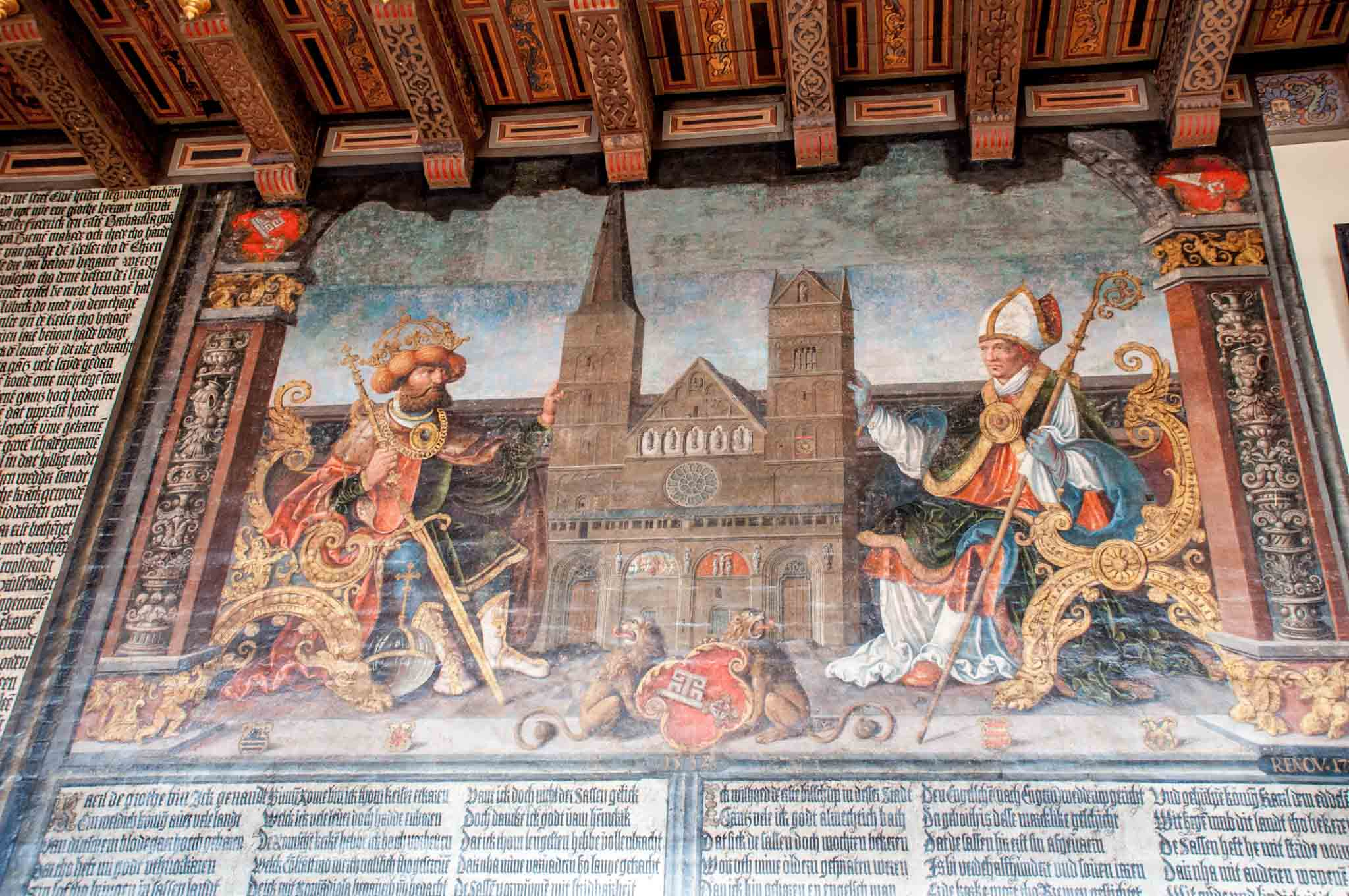 Painting of Charlemagne giving the first church to the city