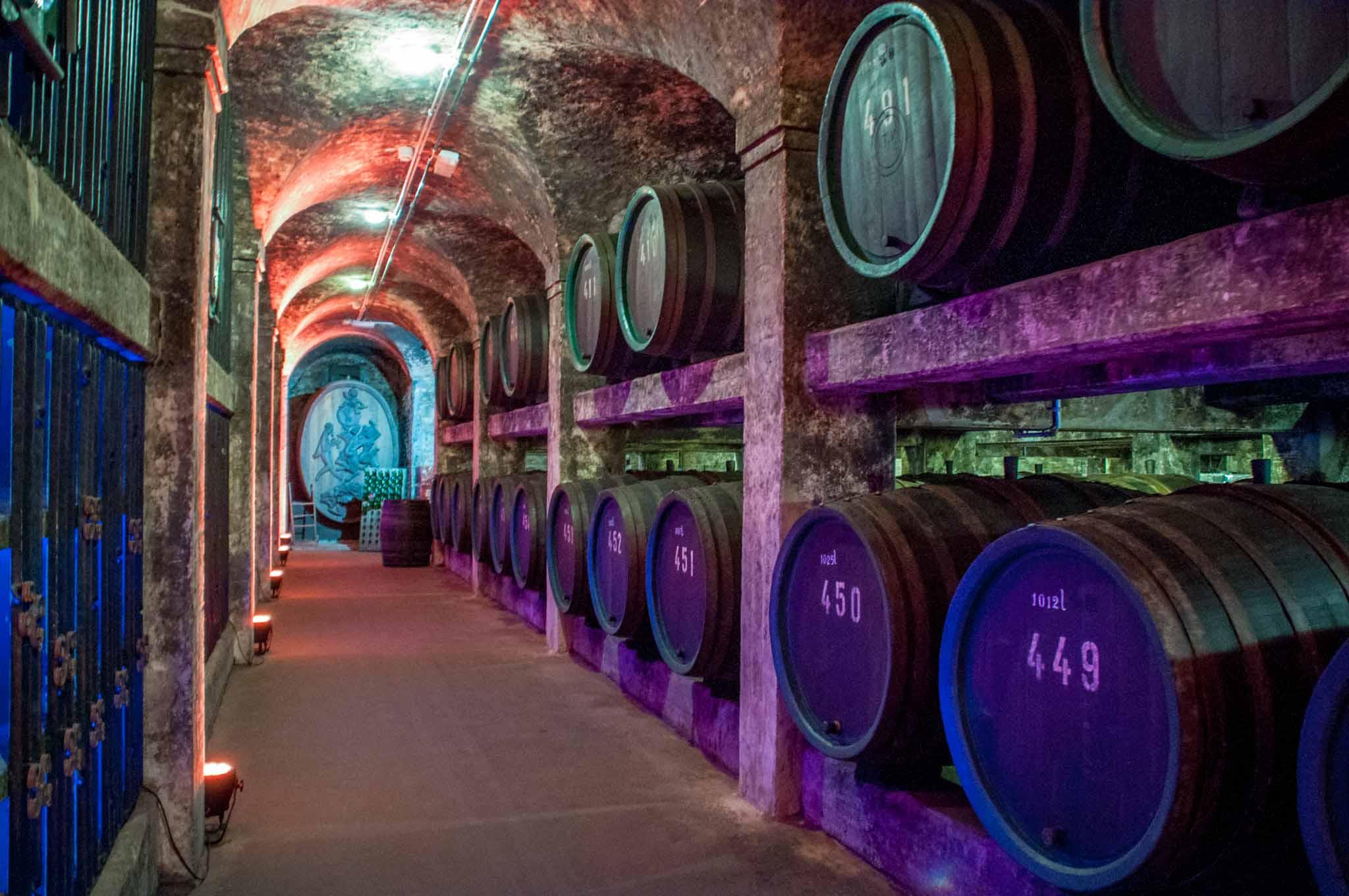 Barrels in the wine cellar underneath Bremen Town Hall