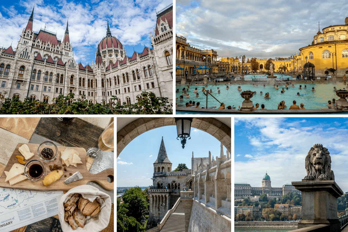 Buildings, pool, and food in Budapest