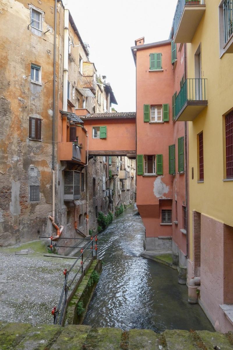 Canal hidden between buildings