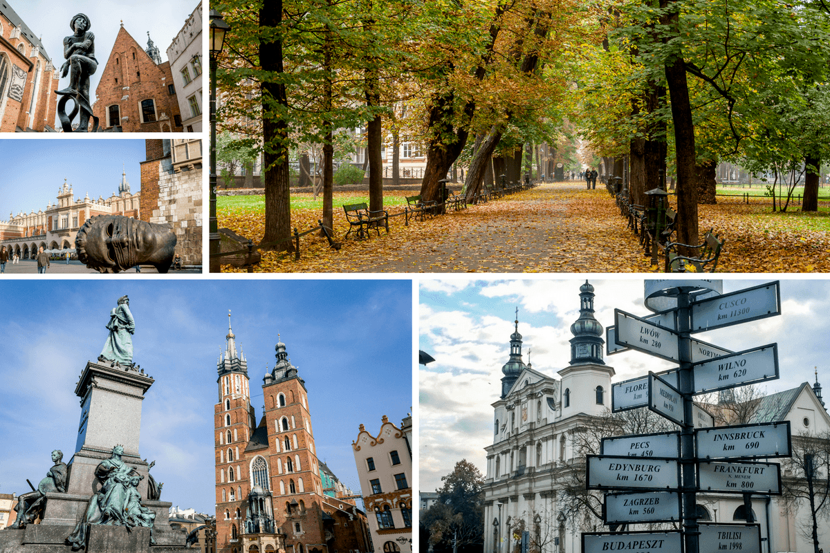 Trees in a park, street sign, and statues in Krakow, Poland