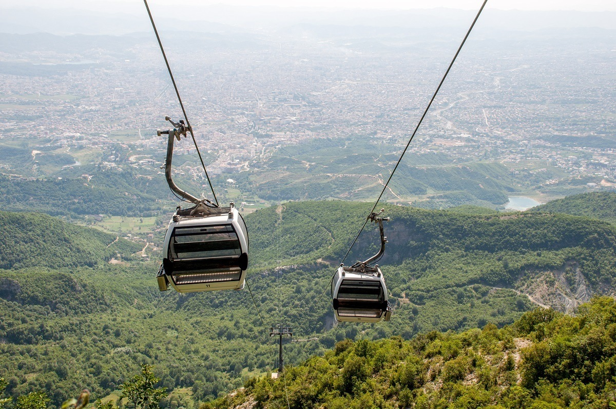 Cable cars high above a mountain