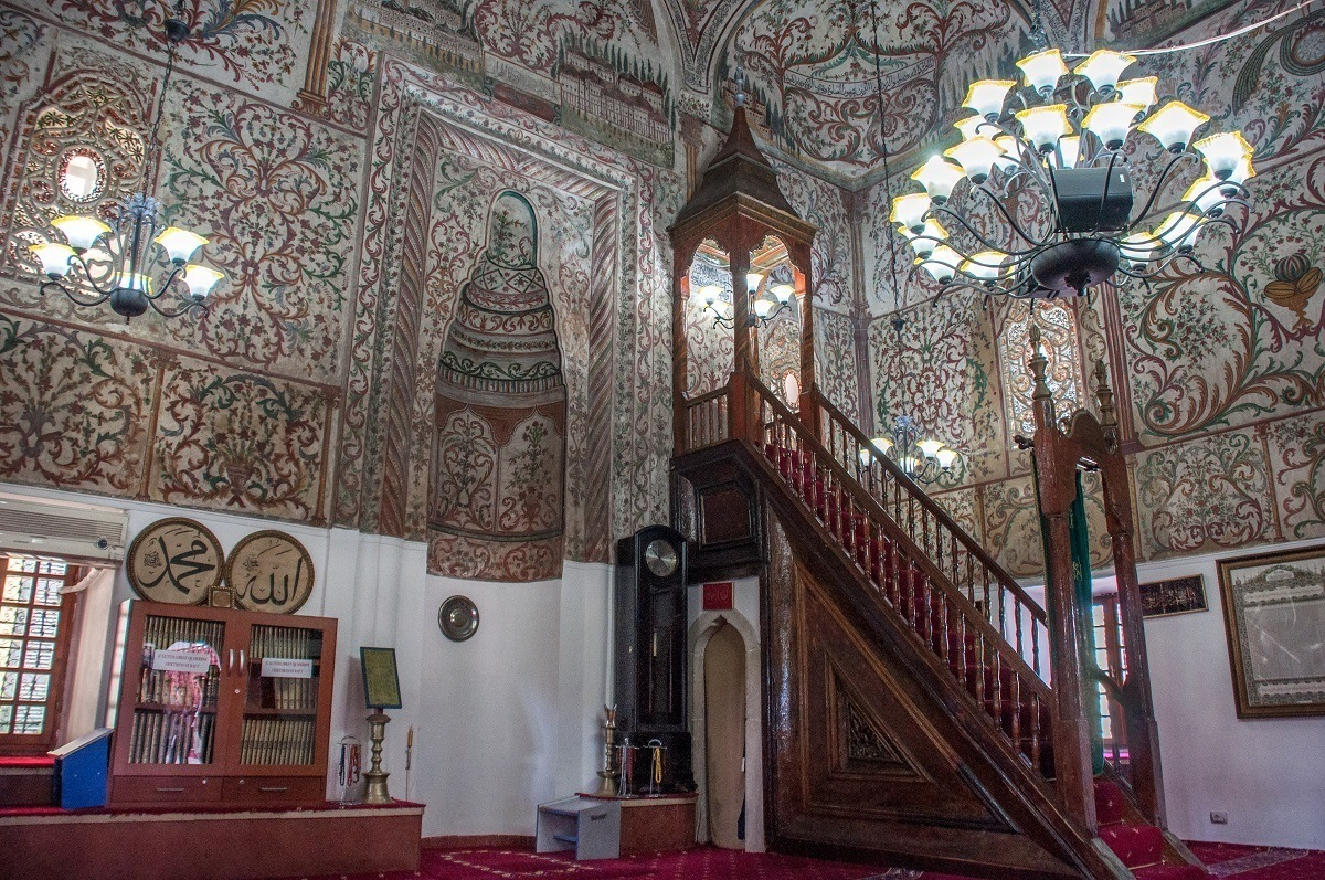 Interior of a mosque with decorated walls