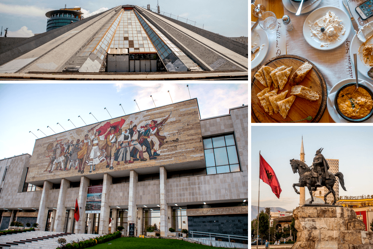 Buildings, statue, and food in Tirana, Albania
