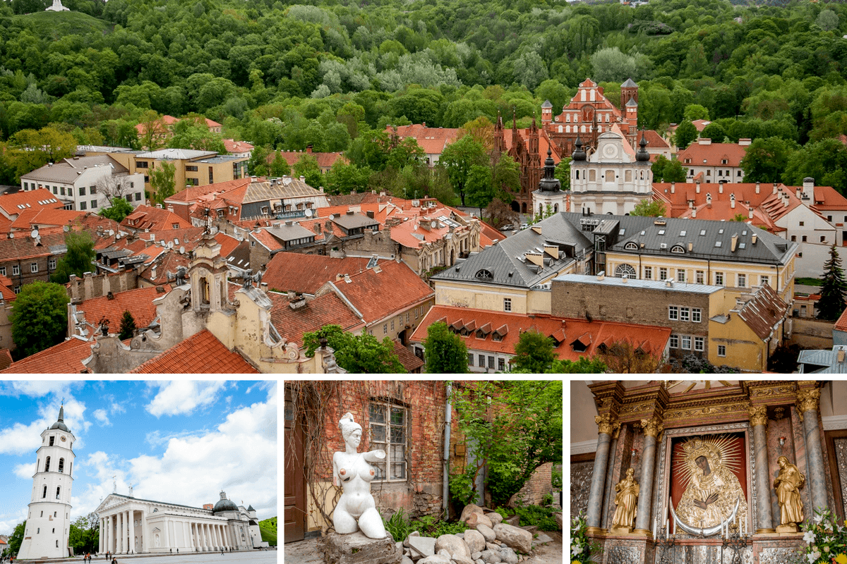 Skyline, statues, and religious art in Vilnius, Lithuania