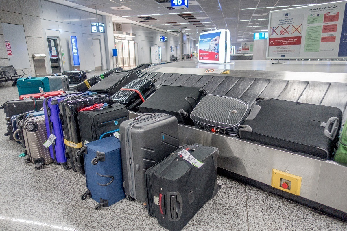 Lost baggage waiting for owners at baggage claim