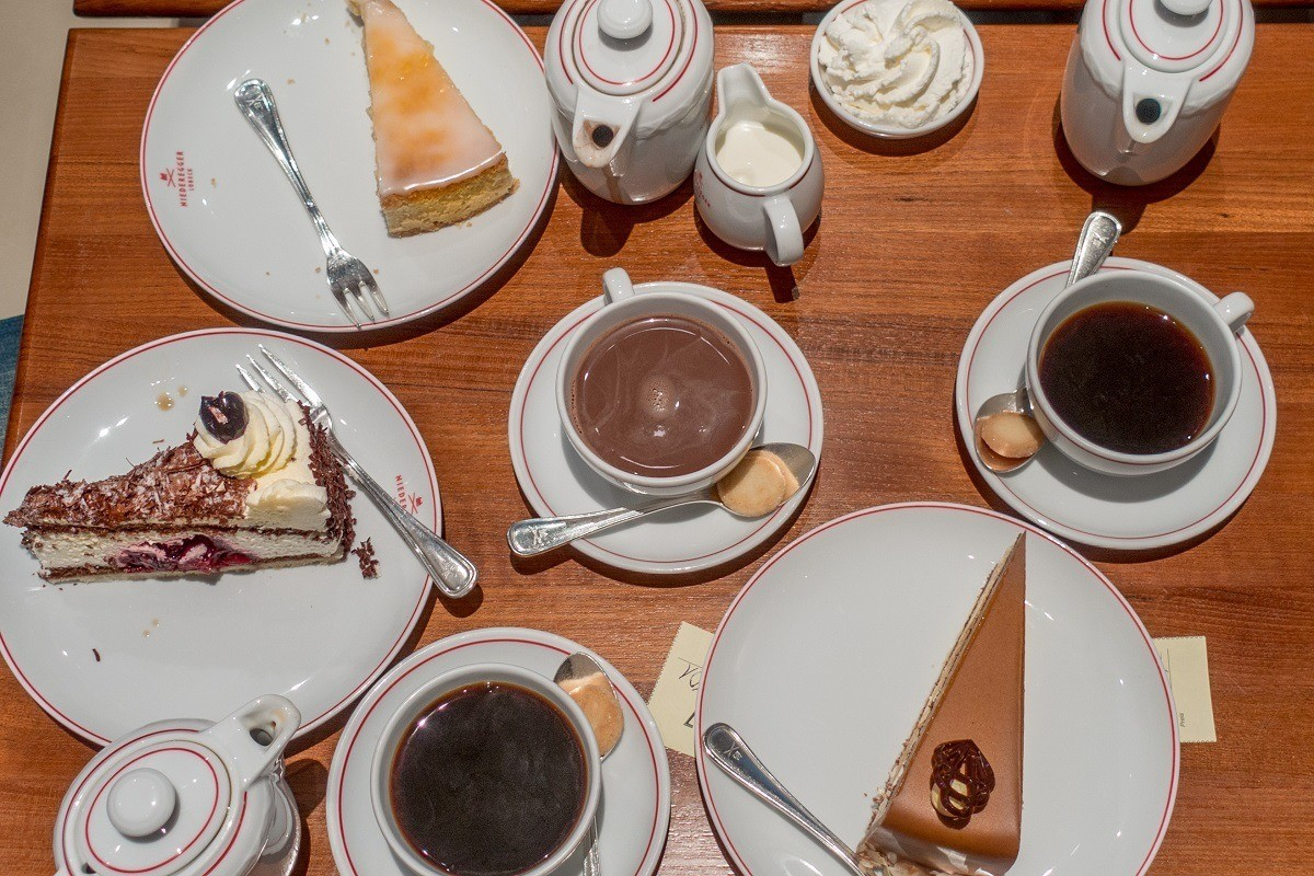 Cake and drinks on a table