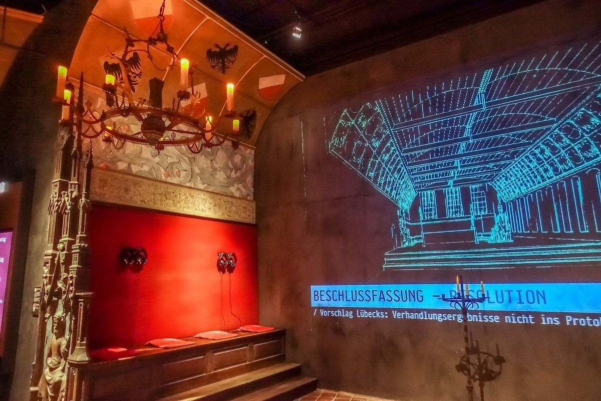 Video exhibit at the Hanseatic League Museum in Lubeck, Germany