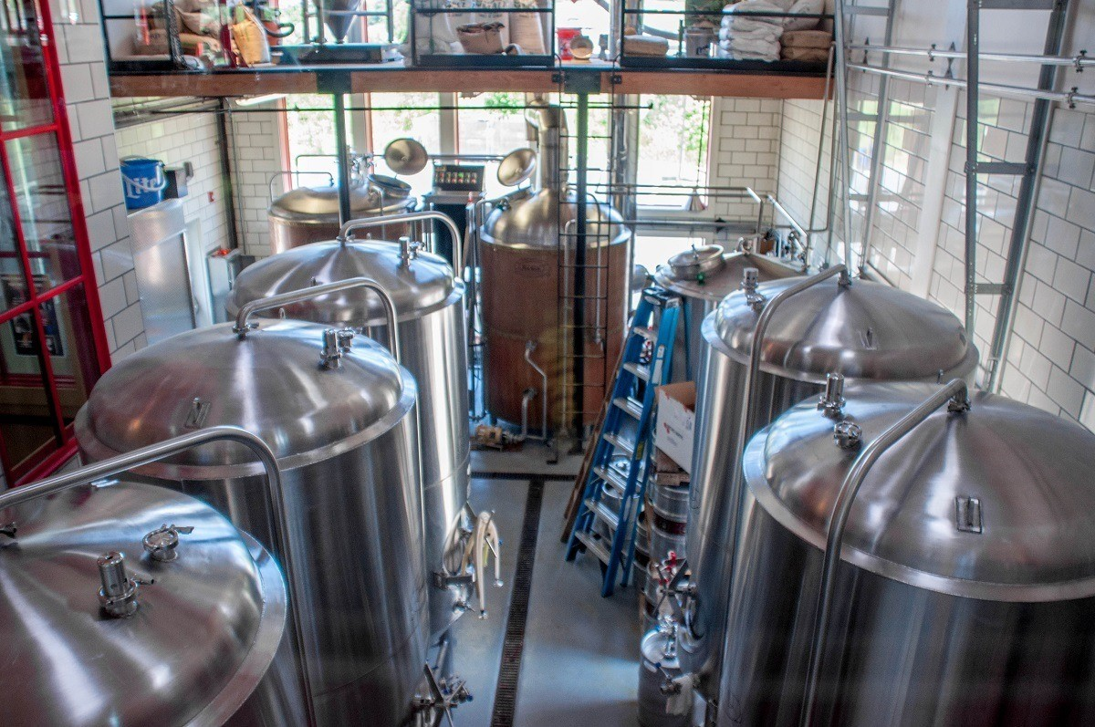 The tanks at a craft brewery