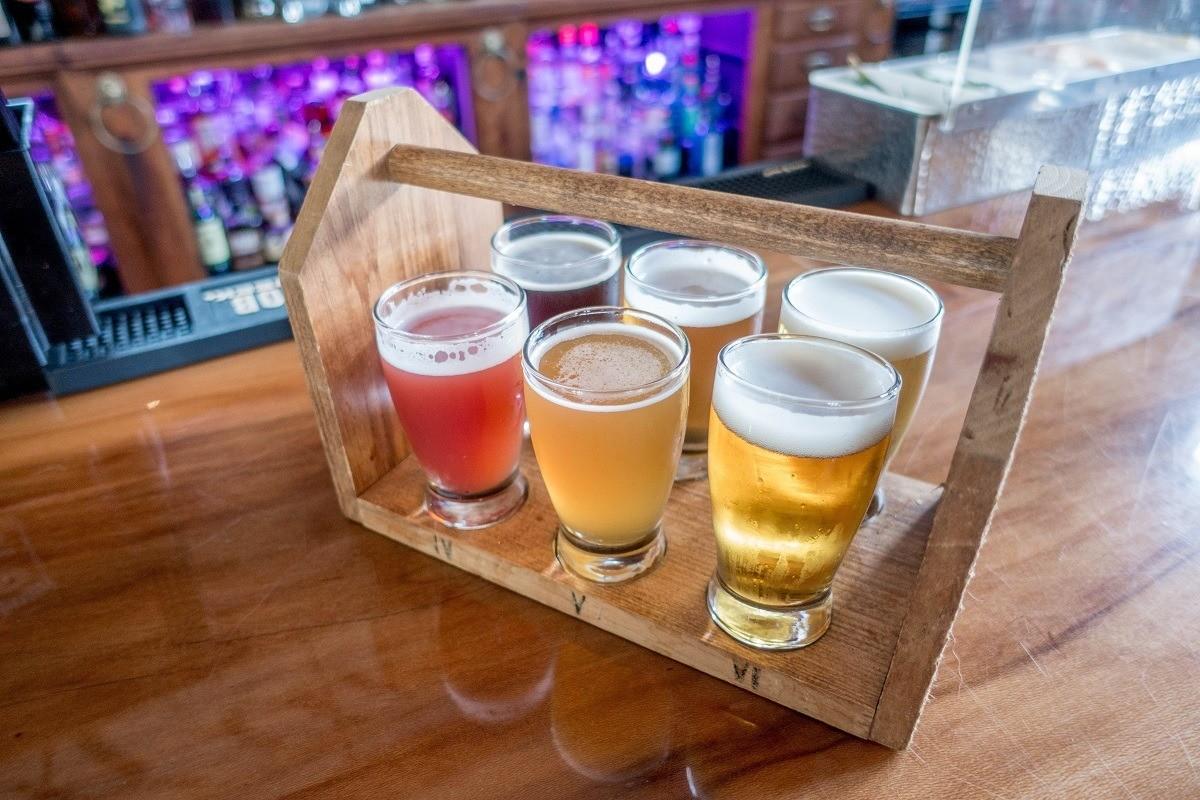 A beer tasting flight