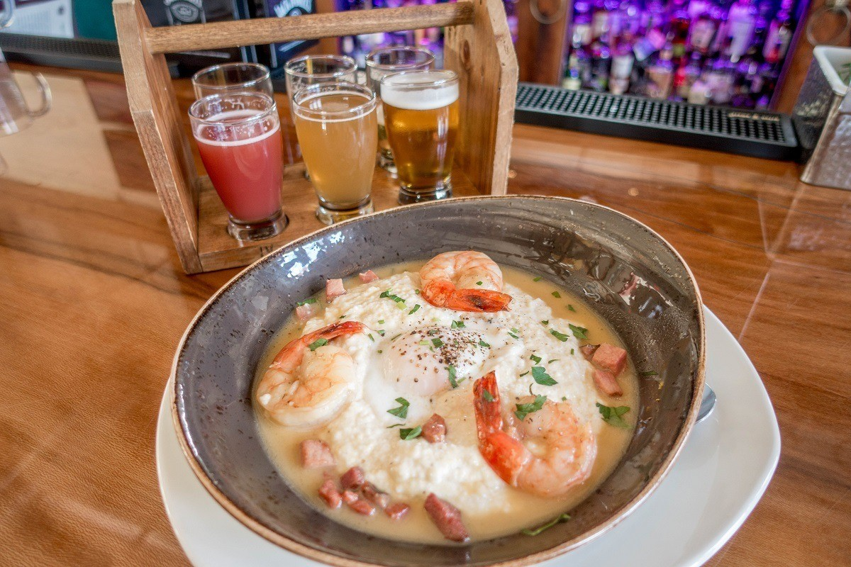 Shrimp and grits with a beer tasting flight at the Happy Valley Brewery in State College
