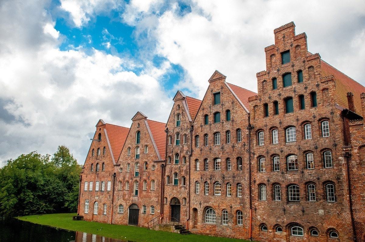 Historic brick salt storehouses with lots of windows