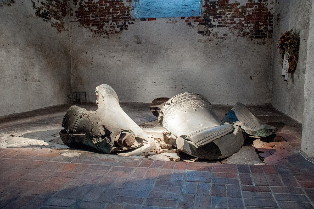 Two bells smashed on the ground in St. Mary's Church in Lubeck