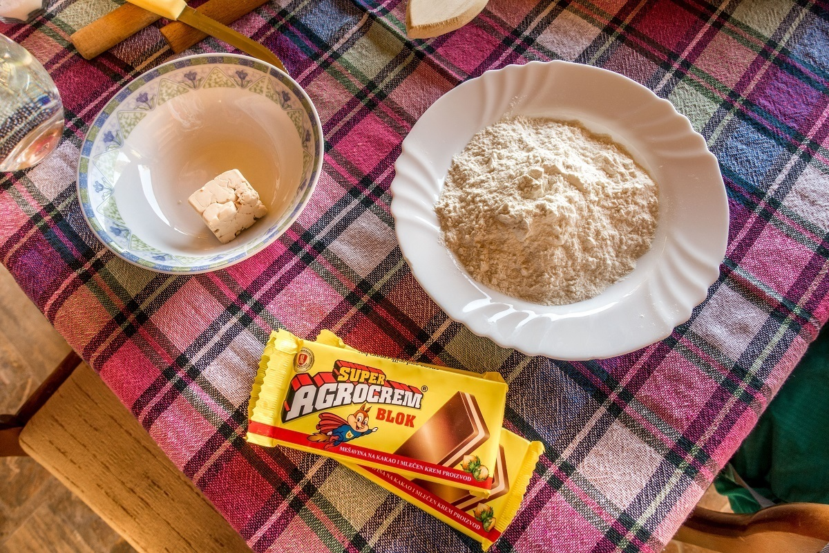 The raw ingredients for Kifli in our Macedonian cooking class: butter, flour and chocolate