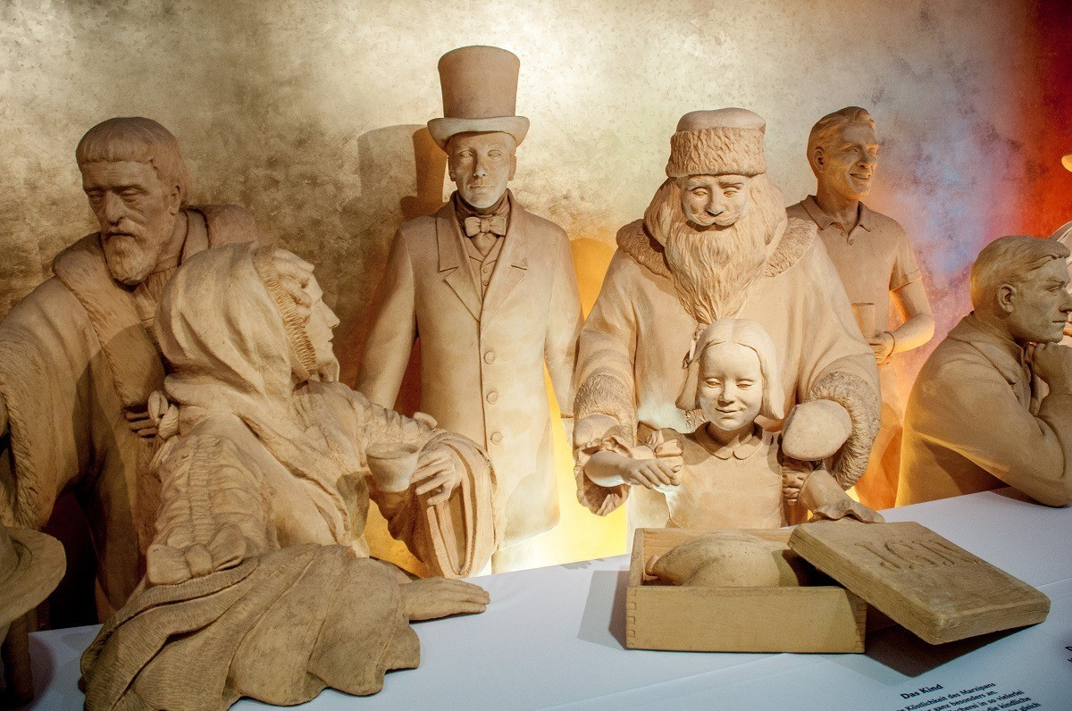Life-sized marzipan statues on display in the marzipan museum
