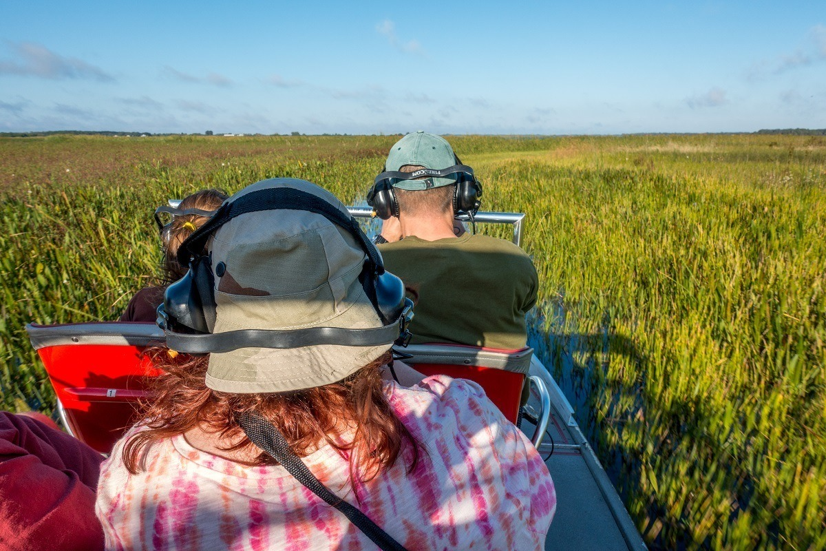 People on a Spirit of the Swamp airboat tour