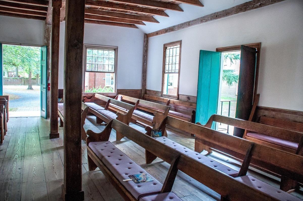 Pews inside a Quaker meeting house