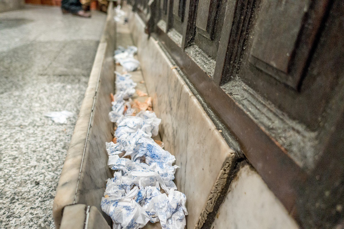 Trash on the floor of a tapas bar in Madrid, Spain