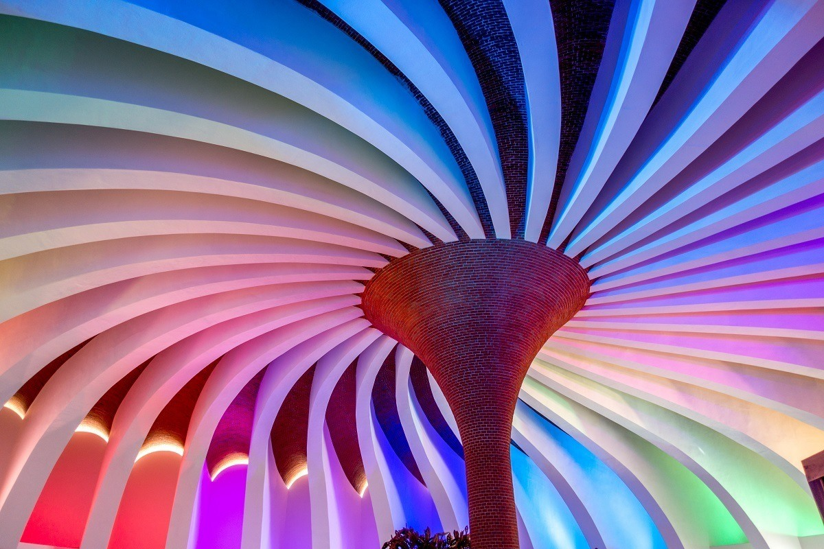 The multi-colored pinwheel greets you at Xenses Park in Riviera Maya