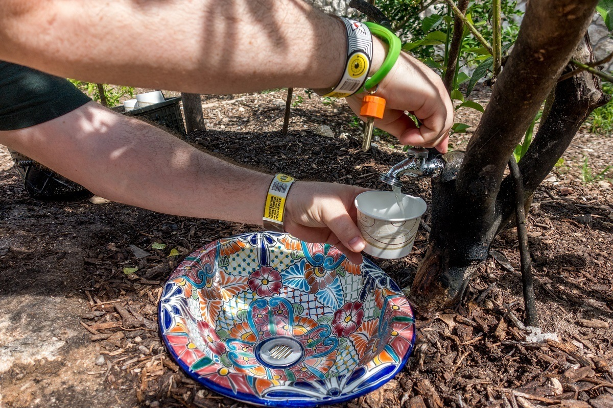 Person pouring lemonade from a spigot in a tree