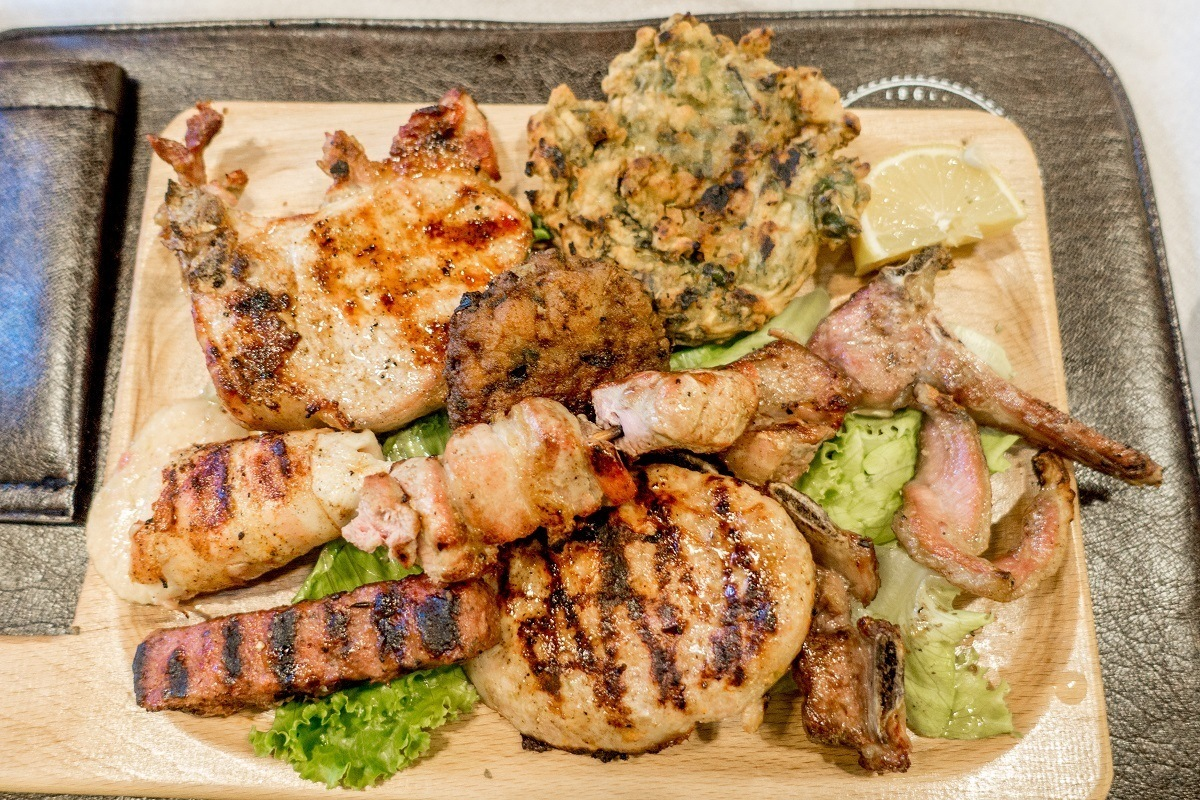 Grilled meat on a serving board