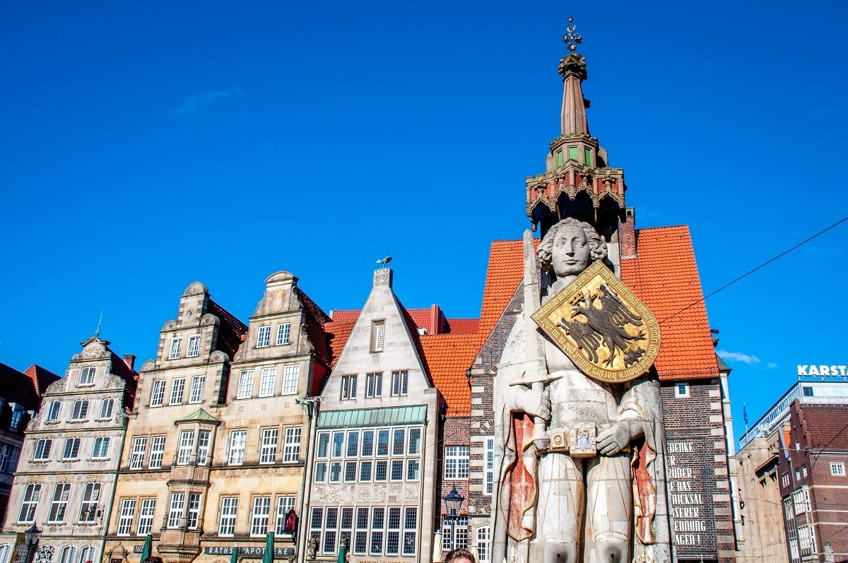 The Bremen Roland statue and the buildings of Bremen, Germany's market square
