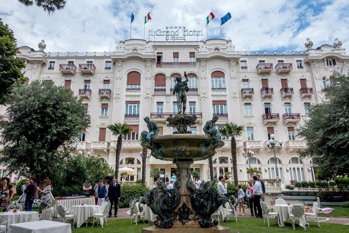 The beautiful grounds of the Grand Hotel in Rimini, Italy