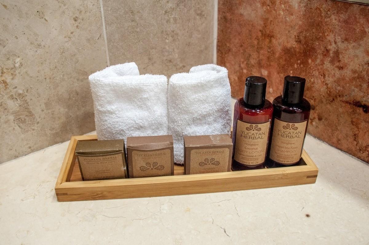 The bathroom amenities