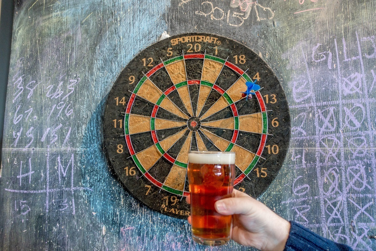 Beer glass and dartboard