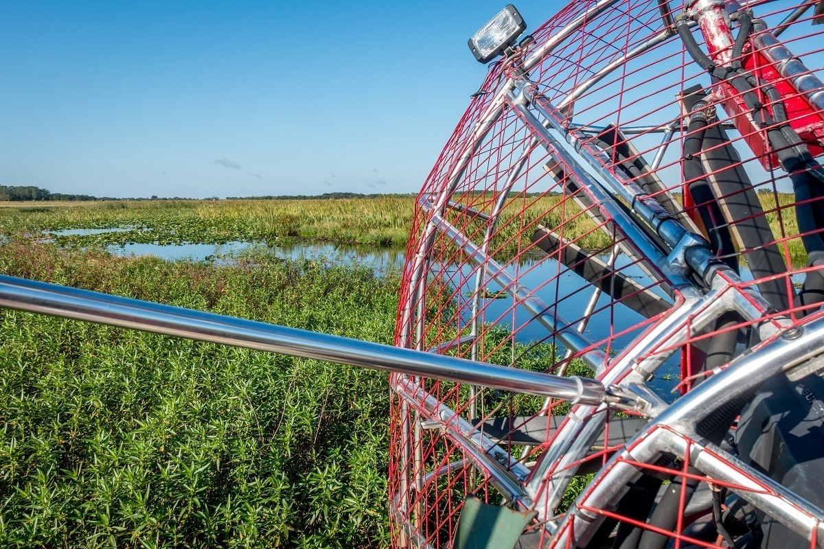 Close up of an airboat fan in a swamp