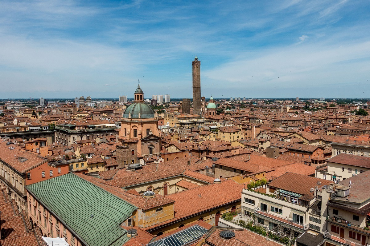 Overlooking the roofs of Bologna, Italy