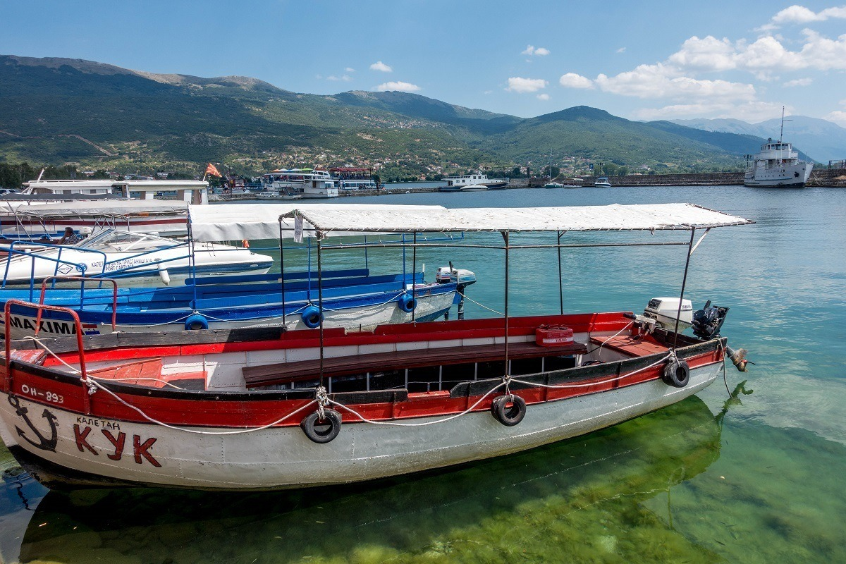 Boats on Lake Ohrid in Macedonia