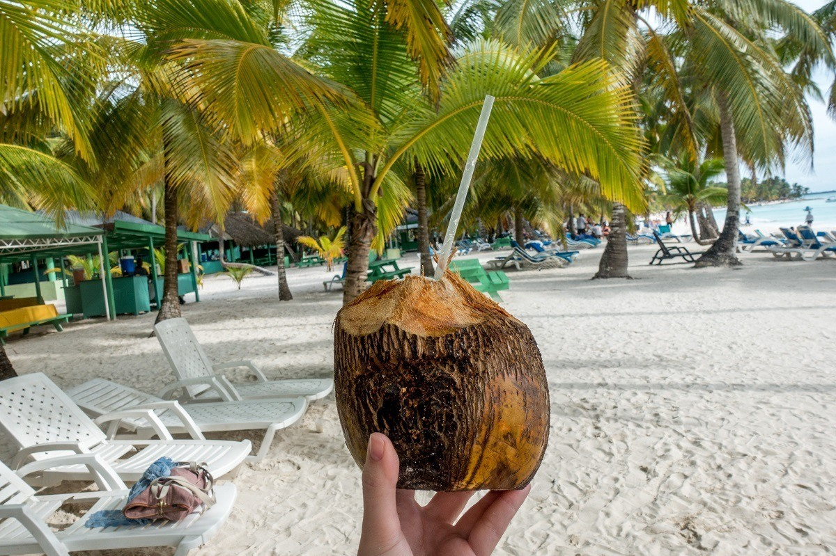 Drink in a coconut