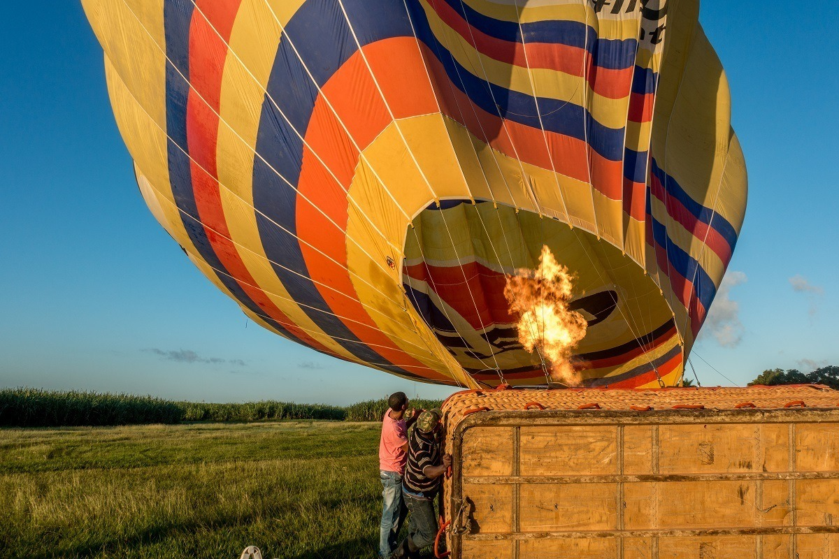 Pilot light inflating a hot air balloon in Punta Cana, Dominican Republic