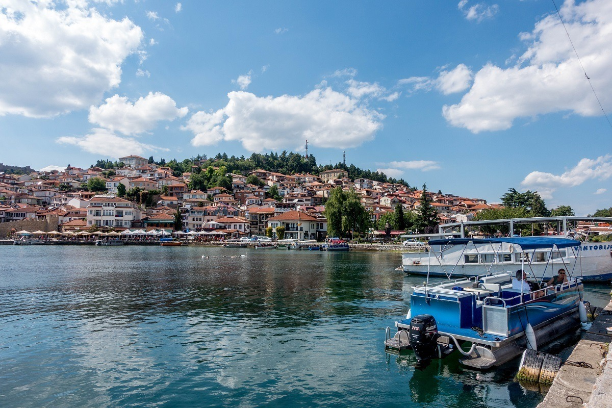 Boats in Lake Ohrid Macedonia with the town in the background