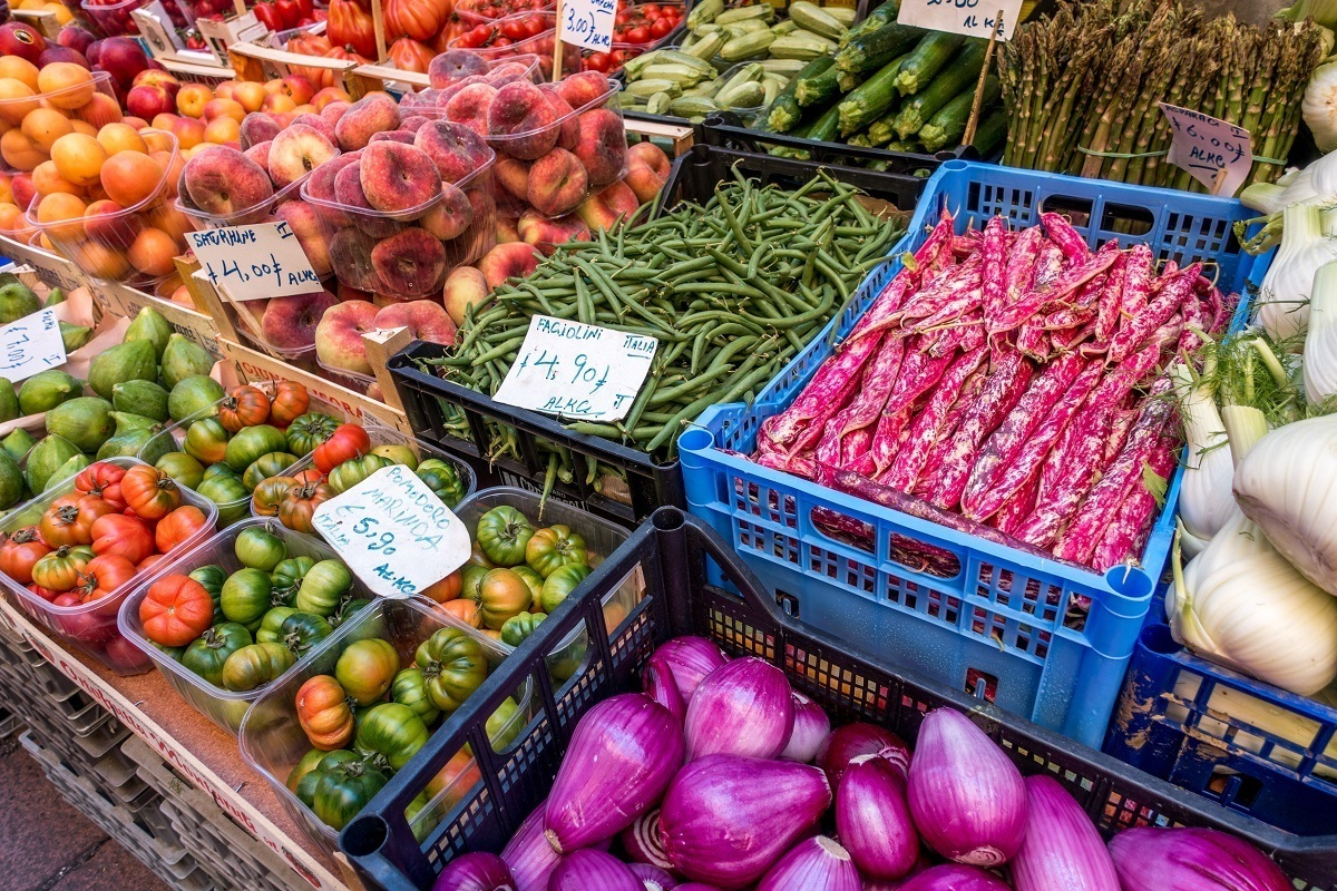 Colorful Emilia Romagna food and produce for sale