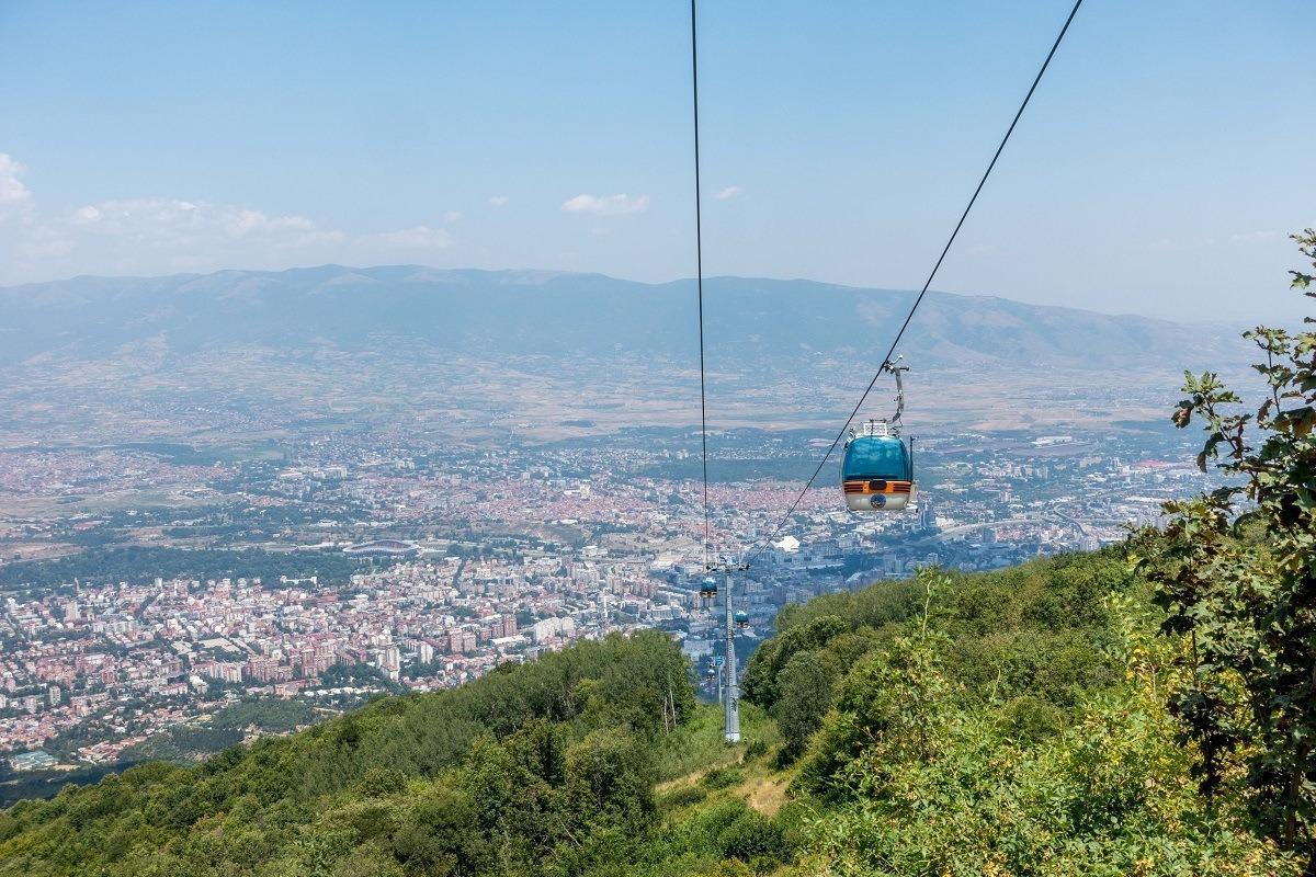Cable car above a mountain