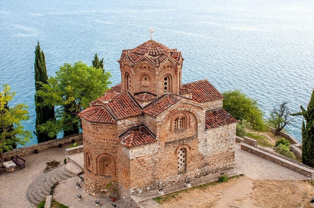 Brick monastery by the ocean