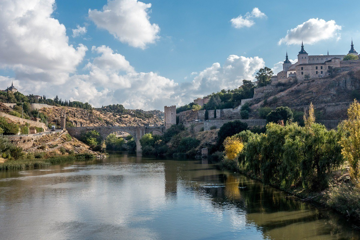 A view of Toledo, Spain from the river below the city