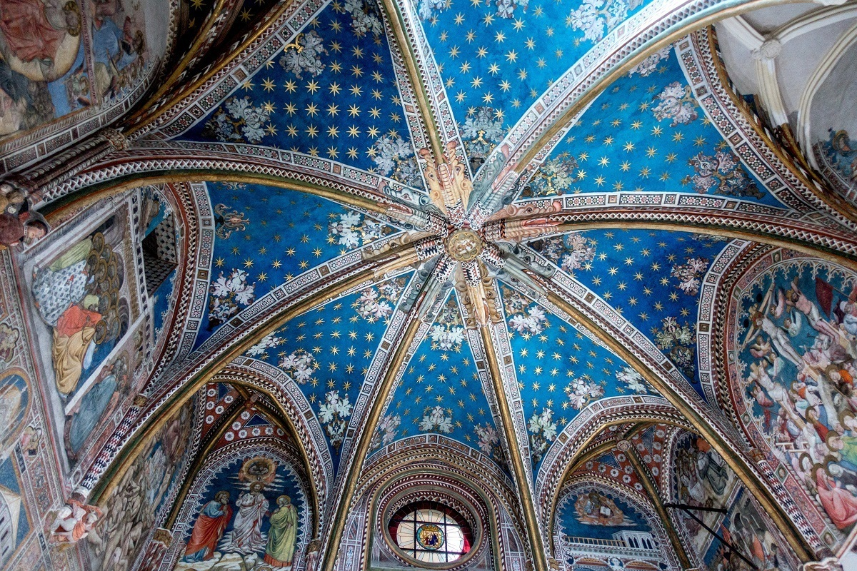 The blue ceiling of the Cathedral of Toledo
